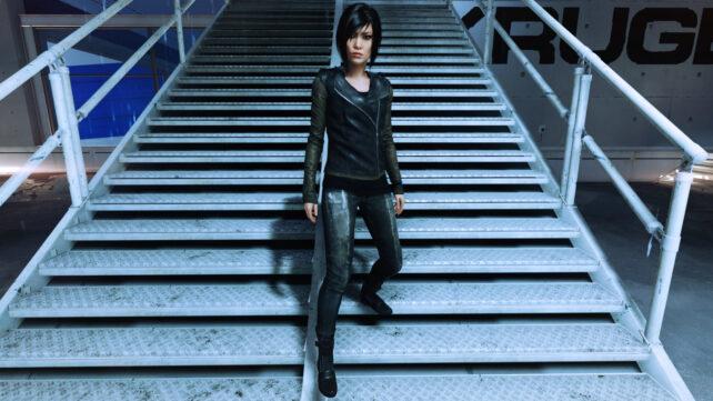Faith, fashionably walking down stairs